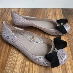 Melissa Jelly Ballet Lace Flats Black Bows